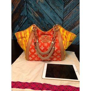 Tory Burch Orange Canvas Chain Strap Tote Bag